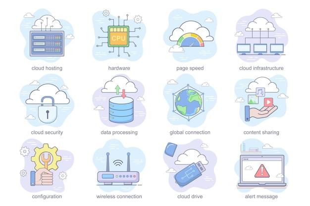 Flache icons des cloud-technologiekonzepts setzen bündel von hardware-hosting-seitengeschwindigkeits-sicherheitsdatenverarbeitung ...