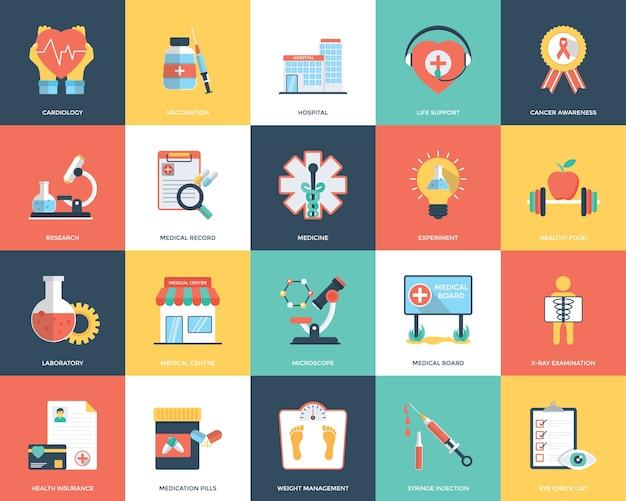 Flache icons von medizin und gesundheit
