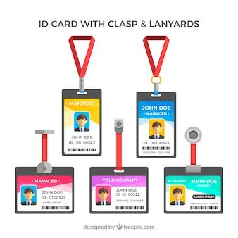 Flache id-karte mit klammern und lanyards sammlung