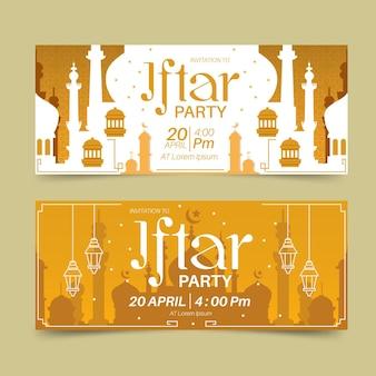 Flache iftar banner gesetzt
