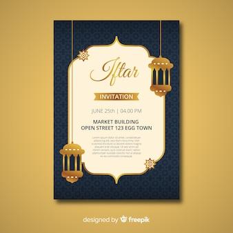Flache iftar-einladung