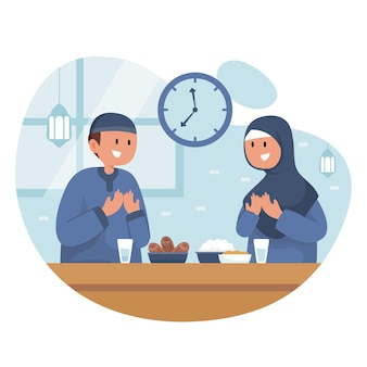 Flache iftar illustration mit leuten