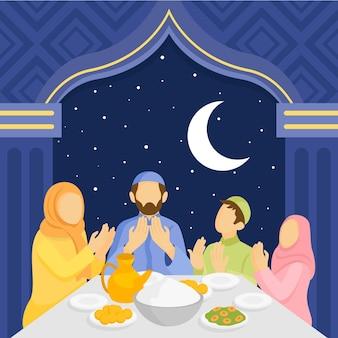 Flache iftar-illustration mit menschen
