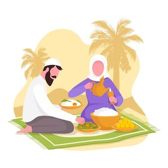 Flache iftar-illustration