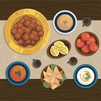 Flache iftar mahlzeit illustration