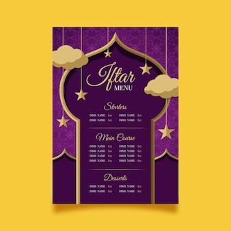 Flache iftar-menüvorlage