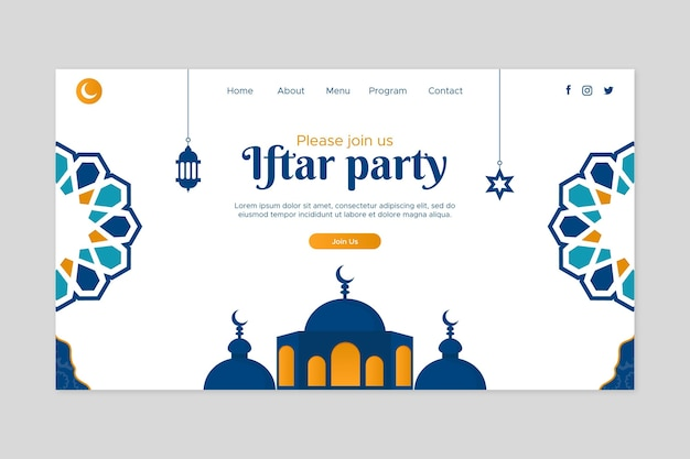 Flache iftar party landing page vorlage