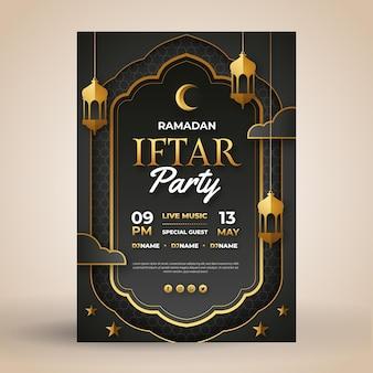 Flache iftar-plakatschablone
