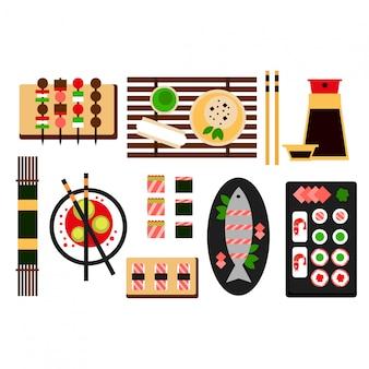 Flache ikone der asiatischen küche des restaurants