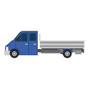 Flache ikone der seitenansicht-lieferung des blauen lkw-autos lokalisierte weiße illustration. güterverkehr business design
