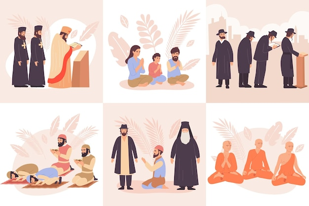 Flache ikone der zusammensetzung der weltreligionen mit betenden buddhistischen christen, juden, juden und muslimen