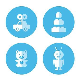Flache Ikone des Babyspielzeugs
