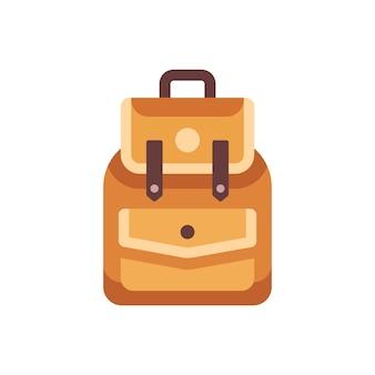 Flache ikone des ledernen schulkinderrucksacks. zurück zu schulillustration
