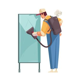 Flache ikone des saubereren aufräumens mit professioneller ausrüstung