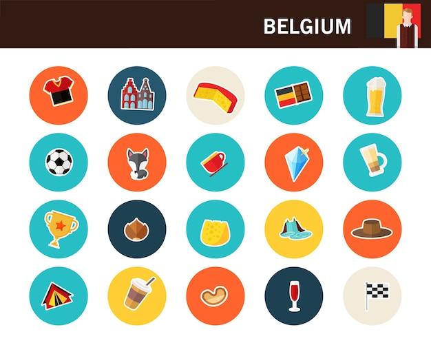 Flache ikonen belgien-konzeptes