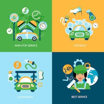 Flache ikonen der autowäsche