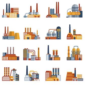 Flache ikonen der fabrik eingestellt