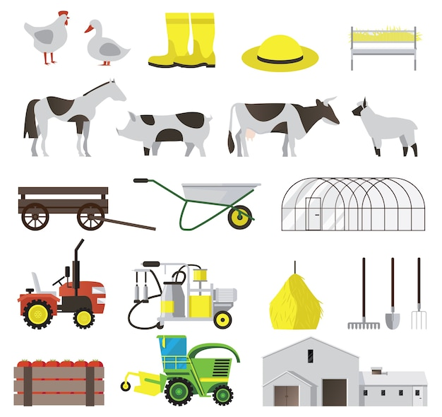Flache ikonen der farm, die mit vieh und landwirtschaftlichen werkzeugen isoliert eingestellt werden