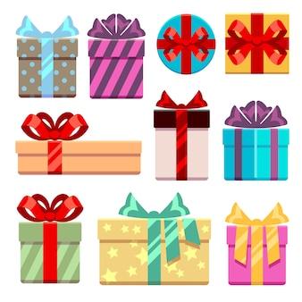 Flache ikonen der geschenkboxen eingestellt