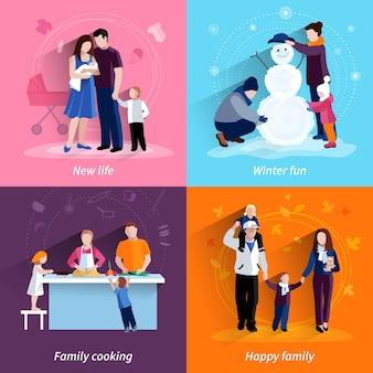 Flache ikonen der glücklichen familie 4 quadratische zusammensetzungsfahne mit lokalisierter vektorillustration des kochens und der neugeborenen babyzusammenfassung