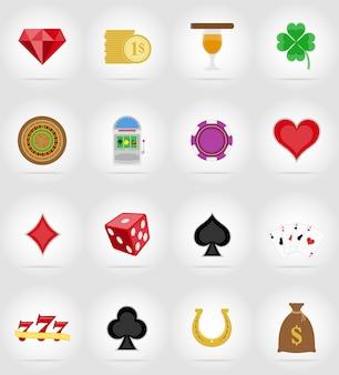 Flache ikonen der kasinogegenstände und -ausrüstung vector illustration