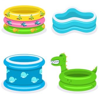 Flache ikonen der kinderschwimmbadkarikaturen, die auf weiß lokalisiert werden
