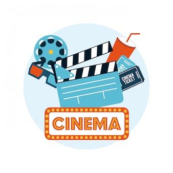 Flache ikonen der kinounterhaltung eingestellt