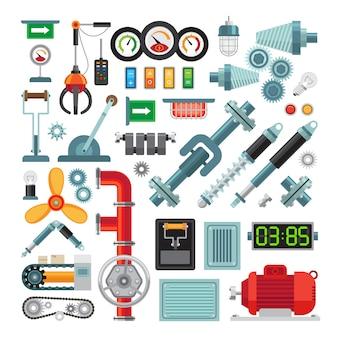 Flache ikonen der maschinerie