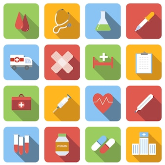 Flache ikonen der medizin stellten bilder mit langem schatten im quadrat ein