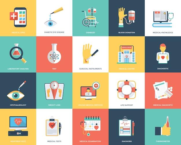 Flache ikonen der medizinischen und gesundheitswesen