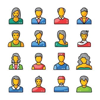 Flache ikonen der menschlichen avatare