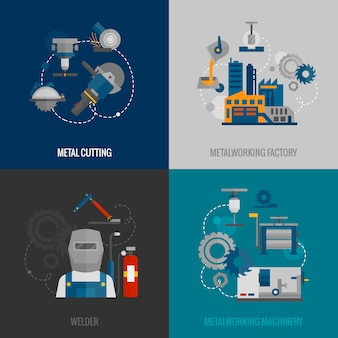 Flache ikonen der metallbearbeitungfabrik