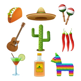 Flache ikonen der mexikanischen kultur stellten mit tequila-sombrero und pfeffer-tacozusammenfassung des heißen paprikas ein