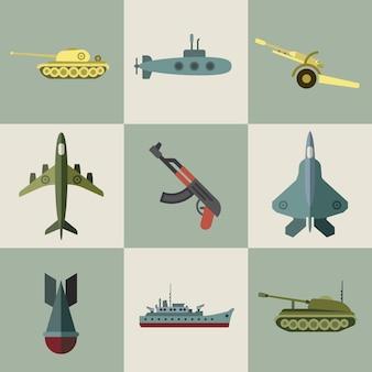 Flache ikonen der militärischen ausrüstung und der waffenrüstung