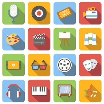 Flache ikonen der multimedia stellten bilder mit langem schatten im quadrat ein