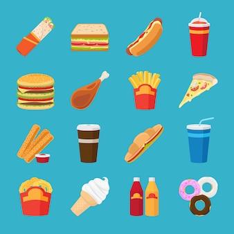 Flache ikonen der nahrung und des getränks