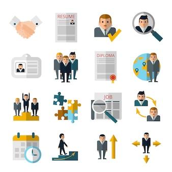 Flache ikonen der personaleinstellungs-personalstrategie eingestellt mit zusammenfassung und diplom