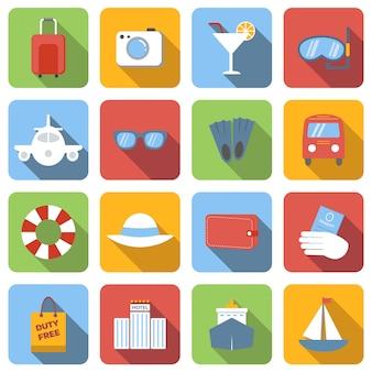 Flache ikonen der reise stellten bilder mit langem schatten im quadrat ein
