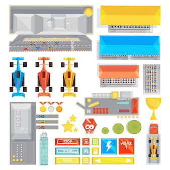 Flache ikonen der rennbahn-benutzerschnittstelle stellten für smartphone-computerspiel mit bedienungs- und steuerelement ein
