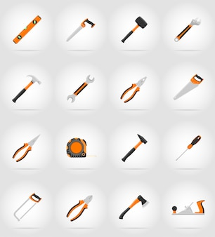 Flache ikonen der reparatur- und gebäudewerkzeuge vector illustration