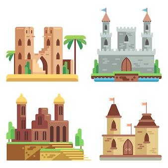 Flache ikonen der schlösser und der festungen eingestellt. feenhafte mittelalterliche schlösser der karikatur mit türmen.