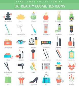 Flache ikonen der schönheit und der kosmetik eingestellt