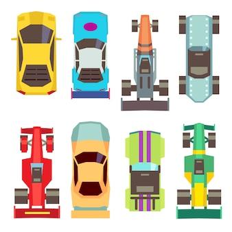 Flache ikonen der sportrennwagen-draufsicht. geschwindigkeits-transport für wettbewerbsillustration