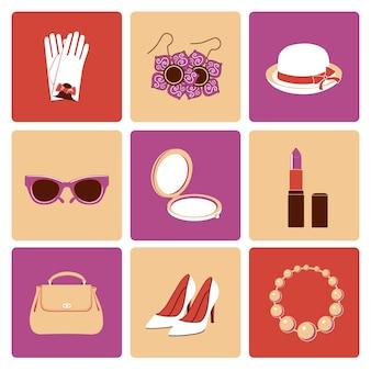 Flache ikonen der stilvollen zufälligen einkaufszusatzsammlung der frauenmode stellten lokalisiert ein