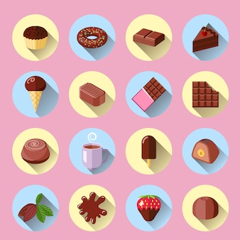 Flache ikonen der süßen lebensmittelstange der schokoladeneiscreme stellten lokalisierte vektorillustration ein