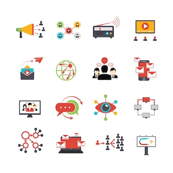 Flache ikonen der viralen vermarktungstechnik eingestellt