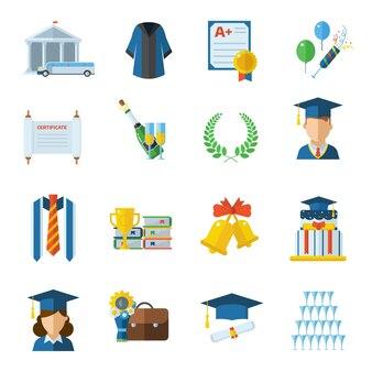 Flache ikonen des abschlusstages mit mann- und frauenabsolventen in abschlusshut und -kleid