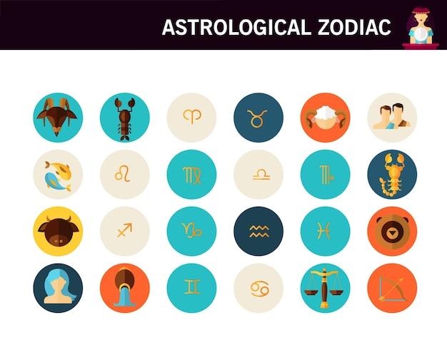 Flache ikonen des astrologischen tierkreiskonzeptes.