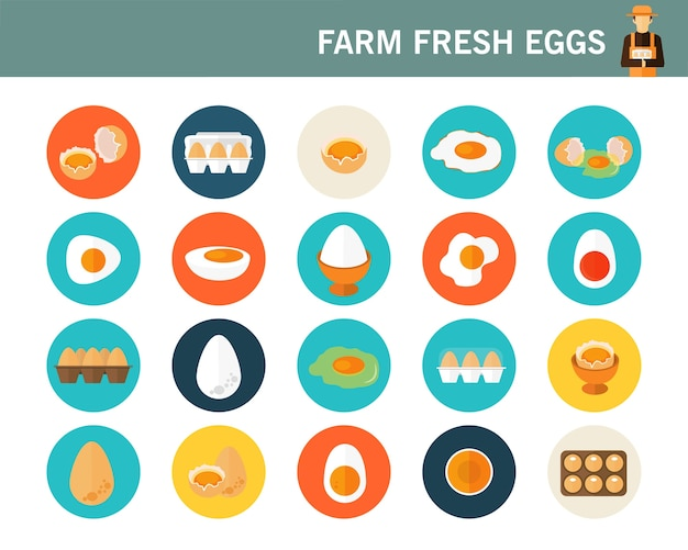 Flache ikonen des bauernhofes der frischen eier konzept