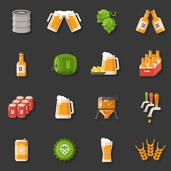Flache ikonen des biervektors. oktoberfest deutsche festivalsymbole